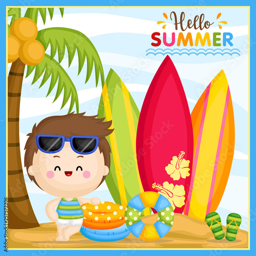A Vector of Cute Little Boy Welcoming Summer Time at the Beach and Ready to Surf