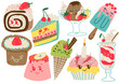 Delicious Desserts Set, Confectionery and Sweets, Cake, Popsicle, Cupcake Vector Illustration