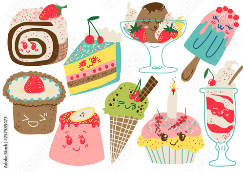 Delicious Desserts Set, Confectionery and Sweets, Cake, Popsicle, Cupcake Vector Illustration © topvectors