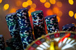 Leinwandbild Motiv Casino theme. High contrast image of casino roulette, and poker chips