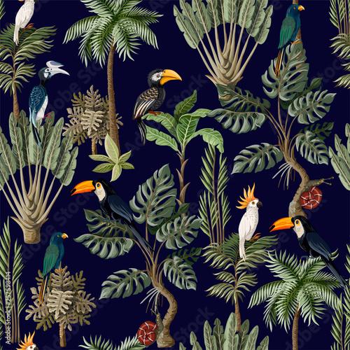 fototapeta na ścianę Seamless pattern with exotic trees and animals. Interior vintage wallpaper.