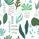 Abstract seamless pattern. Jungle leaves texture. Tropical art. Vector illustration - 257606270
