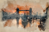 Watercolour painting of Golden Autumn sunrise over Tower Bridge in London.