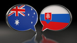 Australia and Slovakia flags with Speech Bubbles. 3D Illustration