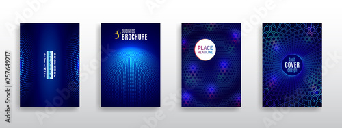 Technology modern brochure templates. Science and innovation hi-tech background. Flyer design of tech elements. Futuristic business cover layout. - 257649217