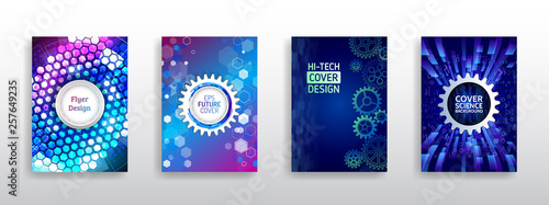 Science and innovation hi-tech background. Flyer design of tech elements. Futuristic business cover layout. Technology modern brochure templates. - 257649235