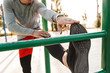 Confident young sportsman doing exercices