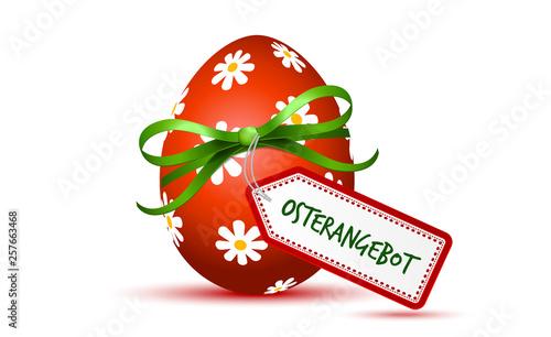 Rotes Osterei Osterangebot Osterrabatt - 257663468