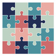 Multicolored puzzle pieces isolated on white background. Vector illustration - 257664676