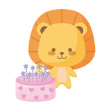 cute lion animal with cake birthday