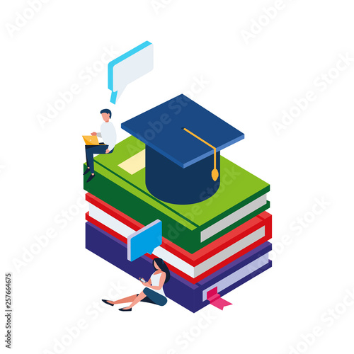 pile text books with hat graduation and minipeople © djvstock