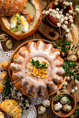 Easter yeast cake with icing and candied orange peel, top view.  Delicious Easter dessert, traditional Easter pastries in Poland