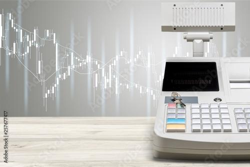 Leinwandbild Motiv Cash register with LCD display on background