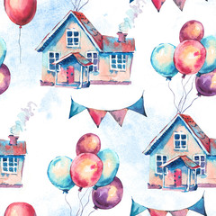 Watercolor Fantasy House and Colorful Air Balloons Seamless Pattern