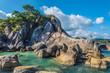Hin Ta Hin Yai stones amd Lamai beach,  Samui, Thailand. - 257684063