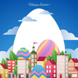 Happy Easter greetings illustration with eggs and city.