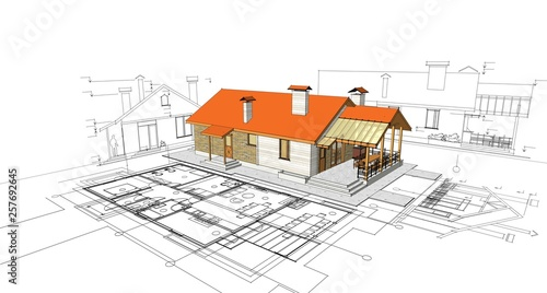house, architectural project, sketch