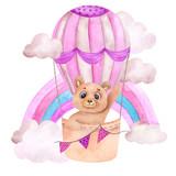 Watercolor illustration with cute bear an air balloon