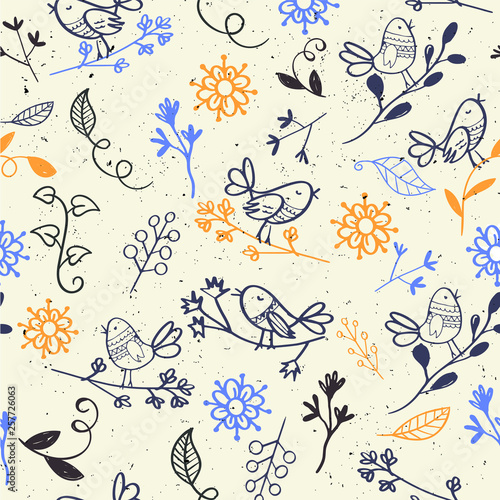 Hand drawn birds cartoon seamless background - 257726063
