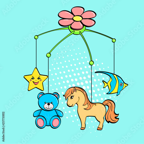 Pop art background. A musical toy over a cradle for a child. The subjects are horse, flower, star, bear and fish. raster © toricheks