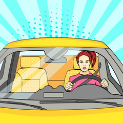 pop art background, sunlight blue. The woman at the wheel, the car. Raster