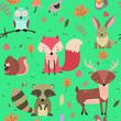 woodland animals seamless background - 257735821