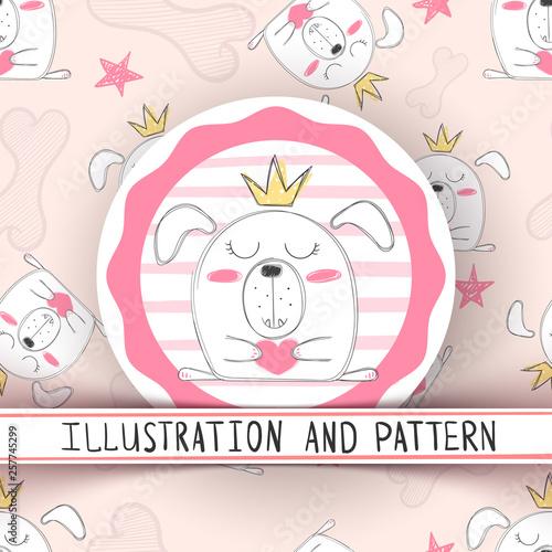 fototapeta na ścianę Cute cartoon dog - seamless pattern