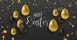 Gold glitter Easter eggs luxury greeting card