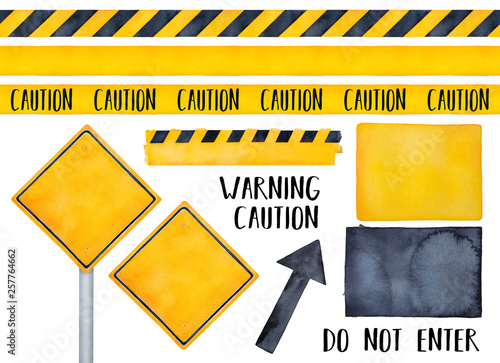 Collection Of Various Warning Signs Seamless Caution Tapes Text