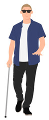 Cartoon people character design blind young man walk with a walking cane © Phoebe Yu