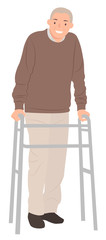 Cartoon people character design senior man standing with a walking frame © Phoebe Yu