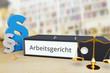 canvas print picture - Arbeitsgericht – Deutschland. Ordner auf Schreibtisch mit Beschriftung neben Paragraf und Waage. Anwalt Arbeitsrecht