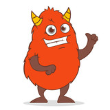 cute red monster, cartoon character, thumb up