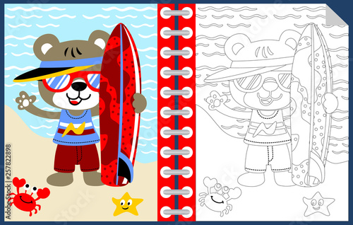 fototapeta na ścianę surfing time with funny animals cartoon, coloring book or page