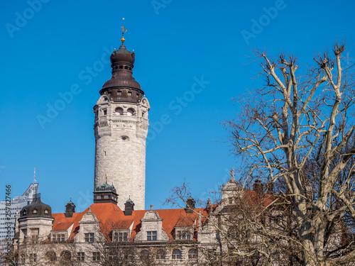 canvas print picture Leipzig Neues Rathaus Turm im Winter