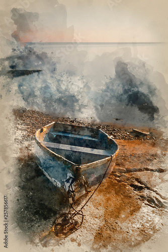 Watercolour painting of Beautiful vibrant landscape image of old rowing boat on slipway at sunrise © veneratio