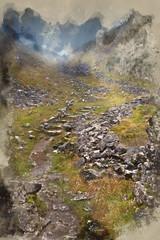 Foggy Autumn morning over footpath through mountain pass © veneratio