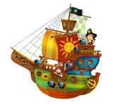 Cartoon pirate ship with cannons on white background - illustration for the children