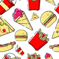 Fast food seamless pattern. © faegga
