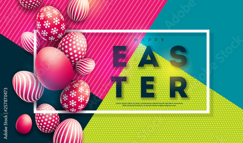 Vector Illustration of Happy Easter Holiday with Painted Egg on Colorful Background. International Celebration Design with Typography for Greeting Card, Party Invitation or Promo Banner. - 257870473