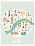 Illustrated map of London with landmarks, symbols