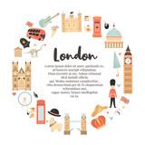 Fototapeta Big Ben - London circle abstract design with Big Ben, Tower © Natalia