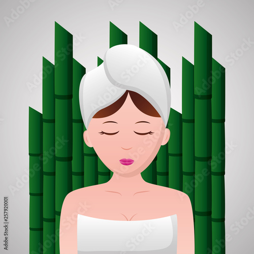 woman with towel spa