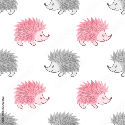 fototapeta na ścianę Seamless watercolor cute hedgehog pattern for kids design.