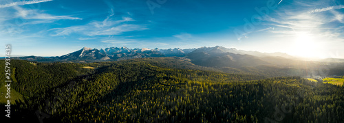 A panorama of Tatra mountains in Poland