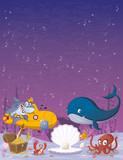 Cartoon underwater world with corals, fish and ocean creatures.