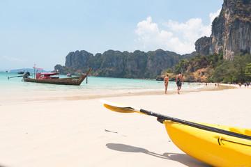 Kayaks on the beach. Ao Nang, Krabi, Thailand March 2019