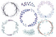 set of watercolor wreaths and branches on a white background in blue tones