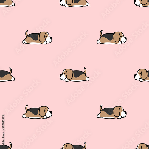 fototapeta na ścianę Lazy beagle puppy sleeping seamless pattern, vector illustration