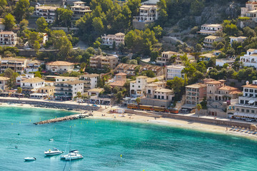 Aerial view of Port de Soller, Mallorca, Spain.